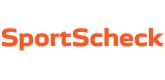 Das Bild zeigt das Logo von SportScheck in orange.